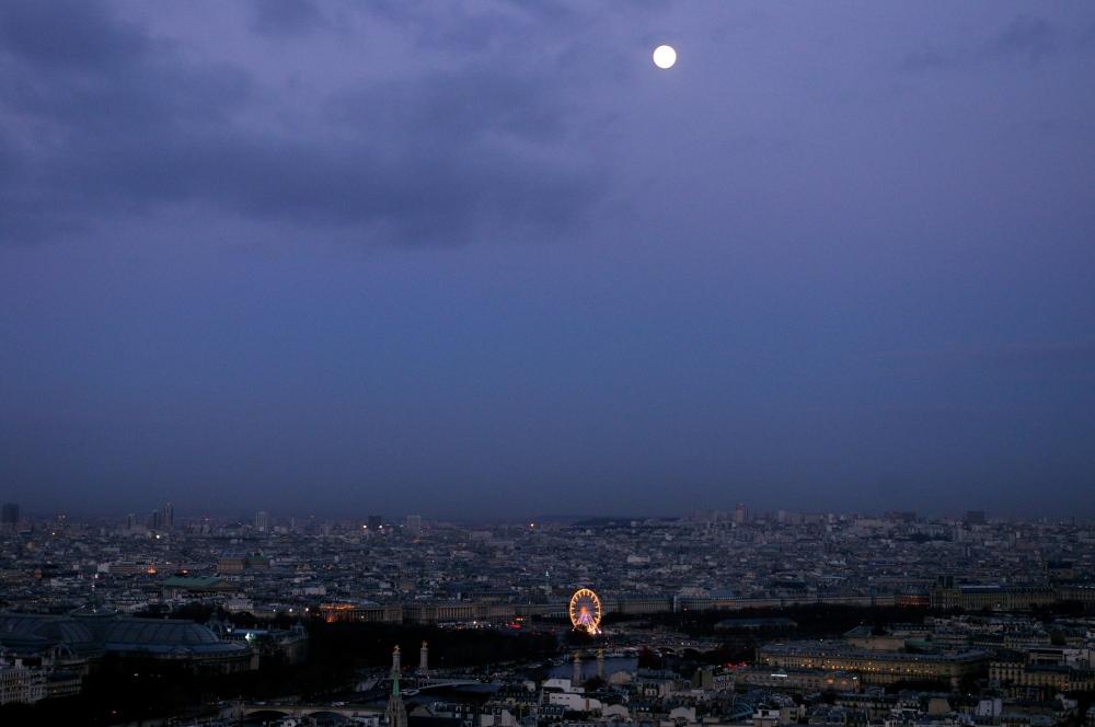 Paris under a full moon