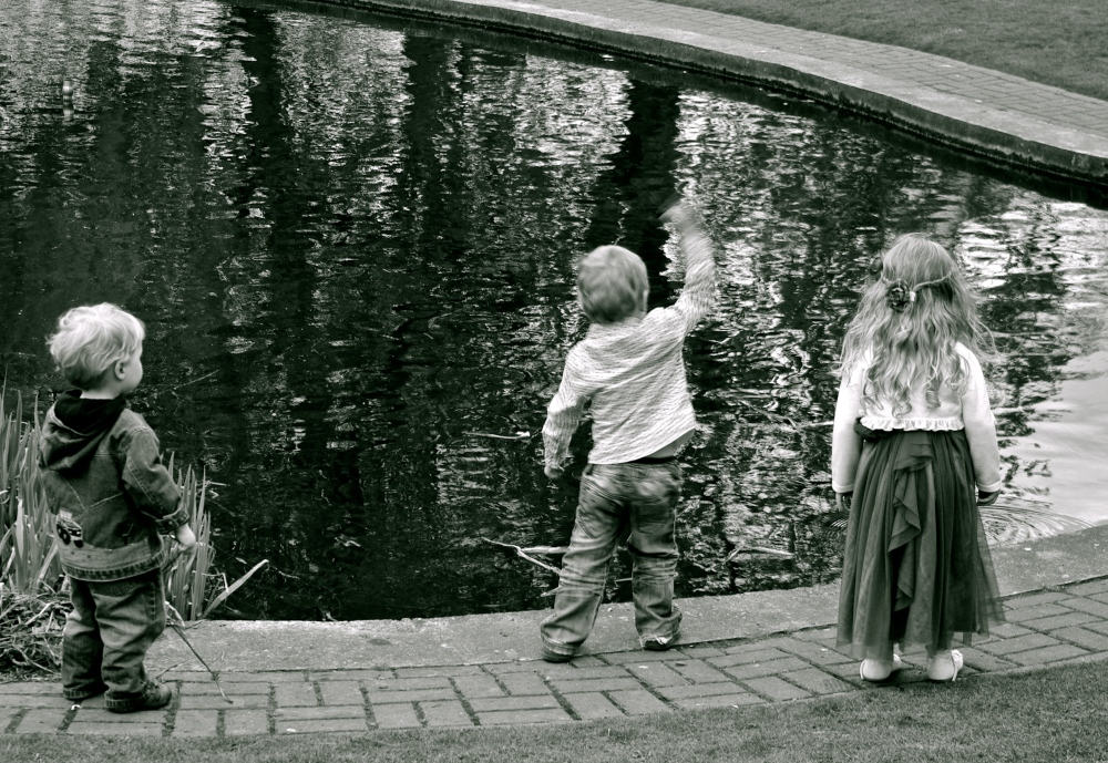 3 kids and a pond