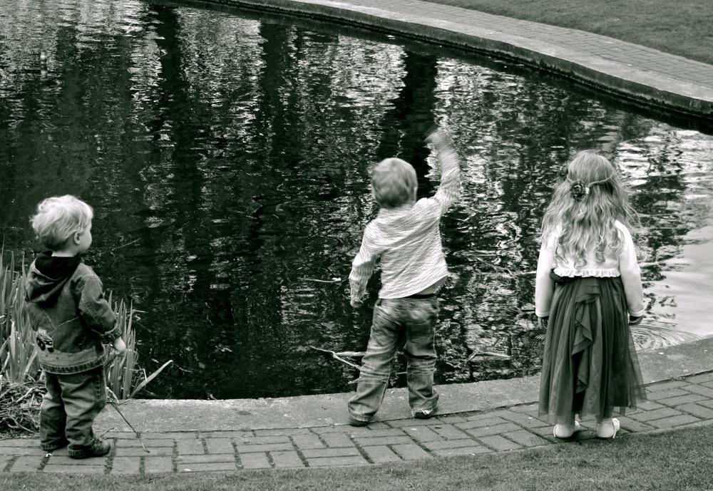 3 kids and a pond